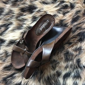 Brown Wedge Sandals Size 7.5